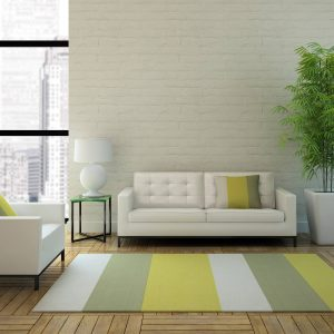 Striped area rug in apartment | Carpets And More, Inc